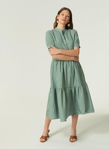 NGSTYLE Ngkss21El0020 Katlı Volanlı Midi Elbise Yeşil